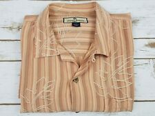 $125 Tommy Bahama Hawaiian Casual Relax Button Front Men's Shirt Brown Silk M