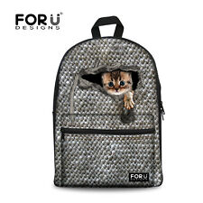 School Bags for Boy's Girls Cat Print College Travel Canvas Backpack Rucksack