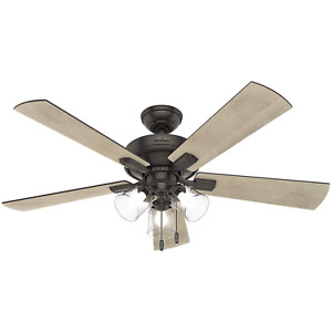 Hunter Crestfield 52 Inch Indoor Ceiling Fan with LED Lights, Noble Bronze