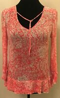 Lucky Brand Womens Peasant Blouse Small Red Floral Print 3/4 Sleeve V-Neck Sheer