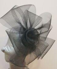 black fascinator millinery burlesque headband wedding hat hair piece