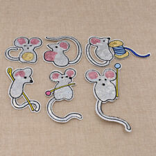 Lovely Cartoon Hardworking Tiny Mouse Sequins Patches Lavender Colour DIY Crafts
