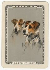 Playing Cards 1 Swap Card Old Vintage Wide BLACK & WHITE Whisky TERRIERS Signed