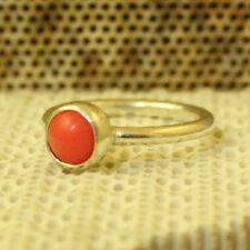 Handmade Turkish Designer Round Band Natural Coral Ring 925K Sterling Silver