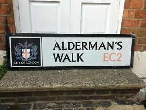 VINTAGE ORIGINAL ENAMEL CITY OF LONDON STREET ROAD SIGN ALDERMAN'S WALK EC2