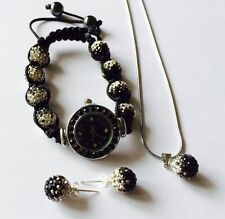 BLACK AND WHITE GRADIENT SHAMBALLA 10mm  WATCH, NECKLACE & STUD EARRINGS - NEW