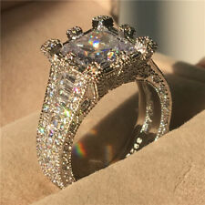 Eternity Big Cz Zirconia Ring Jewelry White Gold Filled Wedding Bands for Women