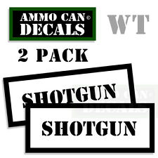 SHOTGUN Ammo Decal Sticker bullet ARMY Gun Can Box safety Hunting 2 pack WT