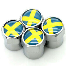 Dust Caps x4 SWEDEN Flag Logo Silver Tyre Valve Badge Swedish VOLVO SAAB SCANIA