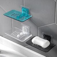 Wall Mounted Sticky Soap Dish Tray Holder Soap Dish Rack Shelf for Bathroom TA