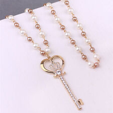 DIY Crown Key Pendant Funky Exalted Pearls Long Sweater Chain Necklace Jewellery