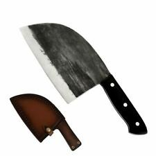 Kitchen Cleaver Butcher Cut Knife Full Tang Large Chef Knife with Leather Sheath