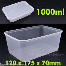 100pcs Disposable Rectangular Plastic Container Take Away 1000ml 50set BPA FREE