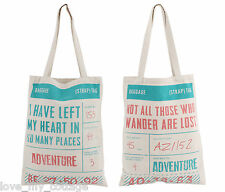 Canvas Shopping Beach Travel Bag Tote Adventure Awaits Summer Holiday Shopper