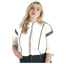b73b14524255c2 Lucky BRAND Womens Plus 1x White Embroidered Scallop Knit Top Shirt
