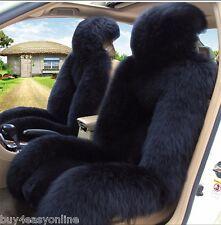 100% Genuine Black Sheepskin Long Wool Car Seat Covers Cover(Universal Fit) Pair
