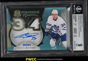 2016 The Cup Honorable Auston Matthews ROOKIE RC PATCH AUTO /34 #HNAM BGS 9 MINT
