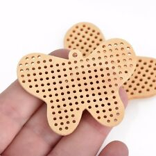 "4 Cross Stitch WOOD BLANK Shapes, BUTTERFLY 2-3/8"" long, cho0218"