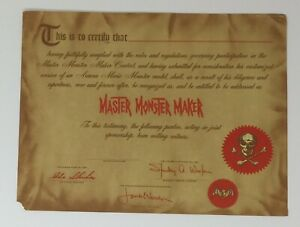 Vintage 1964 original AURORA MASTER MONSTER MAKER certificate - Famous Monsters