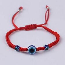 4 Pieces of Lucky Red Rope String Thread  Resin Beads Blue Eyes Kabalah Handmade