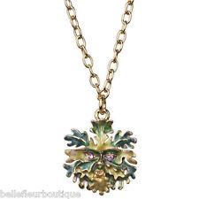 Kirks Folly Enchanted Forest Mini Green Man Necklace Goldtone Green & Violet