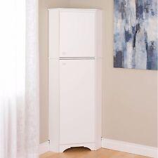 White 2 Door Tall Corner Cabinet Entryway Bath Bedroom Storage Organizer Shelf