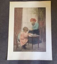 "Original vintage etching  ""The Lesson"" by  Manuel Robbe  cica 1900"