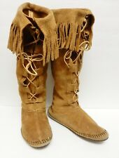 Vintage BUCKSKIN LEATHER Moccasins Native Tribal Boots Hand Sewn Oklahoma