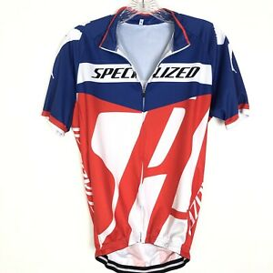 Specialized Womens Short Sleeve Cycling Jersey Red White Blue Sz Large Full Zip