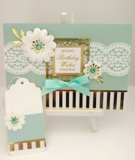 Handmade Birthday Day Card: Aquamarine Lace