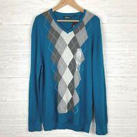 Claiborne Argyle Men's Sweater Size XL Long Sleeve V-Neck Blue Gray NWT