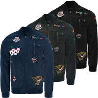 Mens New Winter Bomber MA1 Flight Military Jacket Coat Patches Padded Size