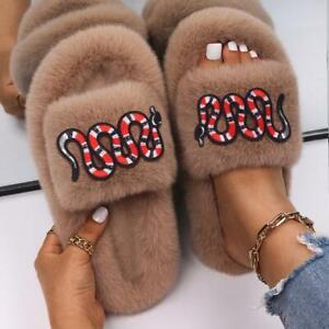 Ladies Faux Fur Slides Insect Appliques Cute Winter Slippers Designer Shoes Flat