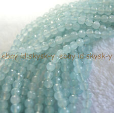 """Natural 8mm Aquamarine Light Blue Faceted Gems Round Loose Beads Strand 15"""" AAA"""
