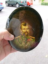 LARGE VINTAGE SIGNED RUSSIAN LACQUER BOX OF CZAR ALEXANDER III ROMANOV