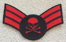 SKULL SERGEANT STYLE STRIPES PATCH Cloth Badge Biker Jacket Army Air Force Goth