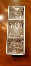 Pottery Barn Monique Lhuillier Neve Glass Christmas Ornaments Set of 3 New