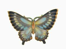 Japanese Toshikane Arita Porcelain Butterfly Pin Brooch Marked