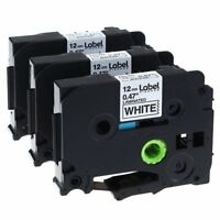 3x Schriftband für Brother TZ-231 TZE-231 12mm 8m Schwarz auf Weiß Farbband Tape
