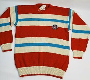Deadstock 90s Streetwear Izod Lacoste Small Multi Color Striped Crewneck Sweater