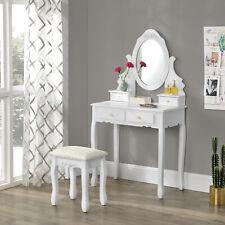 [en.casa] Schminktisch mit Spiegel + Hocker Frisierkommode Frisiertisch Kosmetik