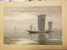 T. Kobayashi - boats on water - original Japanese watercolor painting