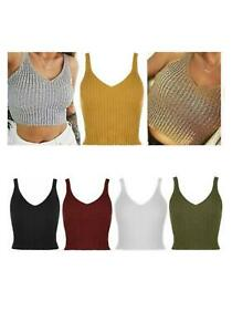 New Womens Ladies Knitted Sleeveless Bralet V Neck Crop Top Vest New Size 8-14UK