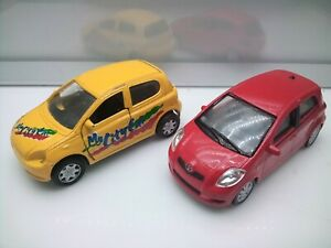 Welly etc 1:43 Scale? / Toyota Yaris - Red & Yellow - Unboxed Model Cars x2