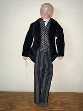 Antique Bisque Head Doll W/ Cloth Body 10 Inches Gentleman suit