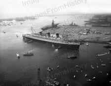8x10 Print Queen Mary Arriving Long Beach 1969 #9834