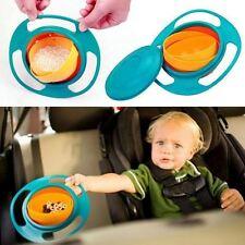 Baby Kids Non Spill Gyro Feeding Toddler Bowl 360 Rotating Avoid Food Spilling