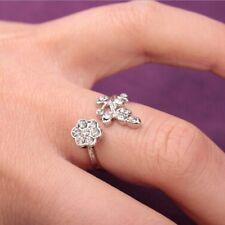 Women Elegant Rhinestone Rings Gold Silver Leaf Flower Wrap Cuff Ring Gift