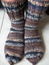 Hand knitted striped wool blend socks, striped brown/gray/white/black