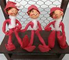 LOT SET OF 3 VTG 1990 ANNALEE RED CHRISTMAS ELF PIXIE FIGURES,POSABLE 8' CUTE